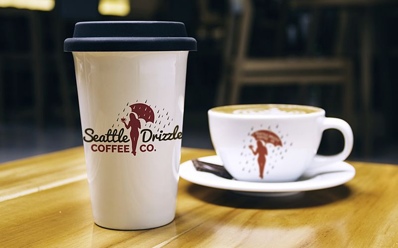 Seattle Drizzle Coffee Bar Label Design