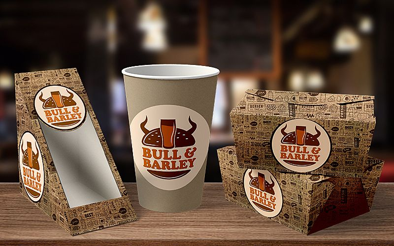 Bull and Barley Fast Food Package Design