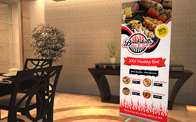Bombshells Bar and Grill - Roll Up Banner Design