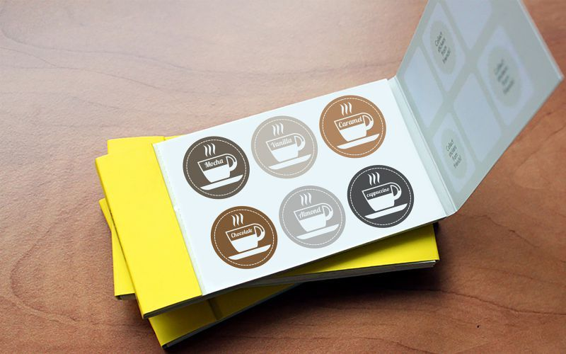Coffee Flavour Sticker Book Design