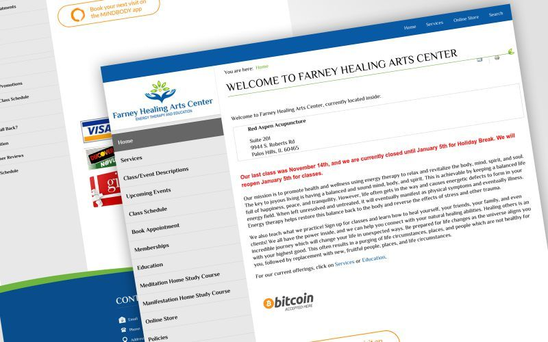 Farney Healing Arts Center Website Design